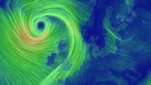 kartta jossa tuulet etenevät kohti Britanniaa