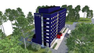 Oulun lentokentän läheisyyteen rakennettava Marriot moxy - hotelli.