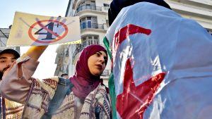 Algerialaiset opiskelijat osoittivat mieltään maan pääkaupungissa tiistaina 12. maaliskuuta.