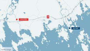 Pyhtää ja Kotka kartalla.