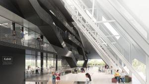 Ensimmäisen luonnosvaiheen arkkitehtikuvassa on hahmotelma Kotkan uuden kampuksen sisänäkymästä.