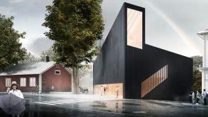 Arkkitehtitoimisto JKMM:n havainnekuva Tammisaareen tulevasta uudesta taidemuseosta.