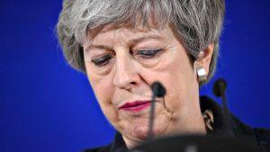 Britannian pääministeri Theresa May tiedotustilaisuudessa Brysselissä 21. maaliskuuta.