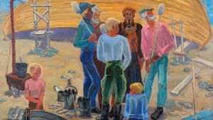 Aleksander Ikkon maalaus, jossa ihmisiä veneen edustalla.