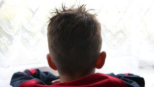Poika kuvattuna takaapäin nojaa ikkunaan ja katselee ulos.