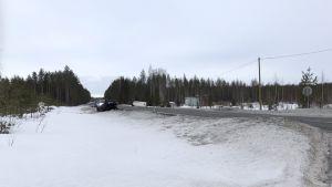 Onnettomuuspaikka Kiteen ja Tohmajärven rajalla.