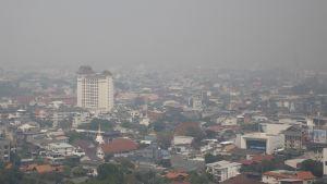 Savusumu peitti Chiang Main kaupunkia maaliskuussa Thaimaan pohjoisosissa.