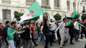 Algerialaisia opiskelijoita mielenosoituksessa.