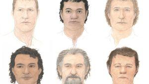 Piirroskuva kuuden miehen kasvoista.
