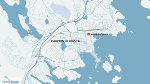 Kartta, johon on merkitty Kuopion keskusta.