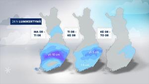 Grafiikka, johon on merkitty lumikertymät maanataista keskiviikkoon ajalla 8.-10. huhtikuuta.