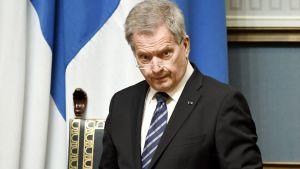 Presidentti Sauli Niinistö istuntosalissa eduskunnan vaalikauden päättäjäisissä 10. huhtikuuta