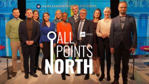Group photo of Yle News debate participants and hosts, from 25 March, 2019 and All Points North logo.