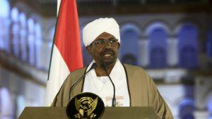 Omar al-Bashir seisoo puhujanpöntön takana. Taustalla on Sudanin lippu.