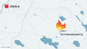 Kartta Urjalan tulipalosta