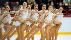Suomen Marigold Ice Unity muodostelmaluistelun MM-kisojen lyhytohjelmassa Helsingissä vuonna 2019.
