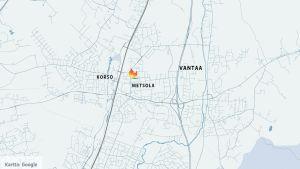 Kartta, johon on merkitty Metsola ja Korso Vantaalla, sekä tulipalon paikka.