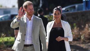 Prinssi Harry ja herttuatar Meghan kuvattuna Marokon vierailullaan 25. helmikuuta.