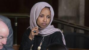 Edustajainhuoneen jäsen Ilhan Omar osallistui tapahtumaan kongressissa 3. huhtikuuta.