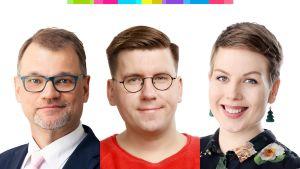 Juha Sipilä, Jenni Pitko ja Sebastian Tynkkynen.