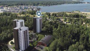 Havainnekuvassa kolme tornitaloa Kokkolan Pikiruukissa.