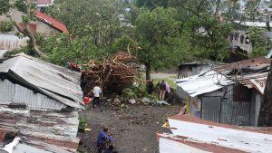 Trooppisen myrskyn Kennethin tuhoja Komoreilla Mosambikin kanaalin pohjoisosassa Intian valtamerellä 25. huhtikuuta.