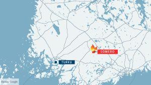 Kartta. Vanha 150-neliöinen rakennus paloi Somerolla myöhään perjantai-iltana.