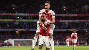 Arsenalin sankarikaksikko Pierre-Emerick Aubameyang ja Alexandre Lacazette