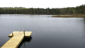 Laituri Pirttijärven rannalla.