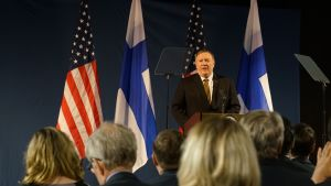 US Secretary of State Mike Pompeo speaking at the Arctic Council meeting in Rovaniemi on Monday, 6 May 2019.