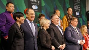 Ministers and representatives at Tuesday's Arctic Council meeting in Rovaniemi, from left: Yury Khatanzeyskiy, Vice President Russian Association of Indigenous Peoples of the North; Ine Marie Eriksen Søreide, Norwegian Foreign Minister; Sergey Lavrov, Russian Foreign Minister; Margot Wallström, Swedish Foreign Minister; Mike Pompeo, US Secretary of State, James Stotts, President, Inuit Circumpolar Council; Timo Soini; Chrystia Freeland, Minister of Foreign Affairs, Canada; Edward Alexander, Gwich'in Council International.