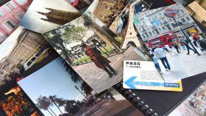 Paljon valokuvia matkakohteista ja pieni Eiffel-torni