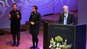 Presidentti Sauli Niinistö puhuu.