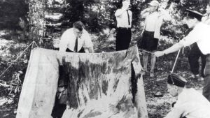 Rikostutkijat tarkastelevat Bodominjärven surmatelttaa kesäkuussa 1960.