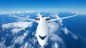 Havainnekuva Airbusin ja SAS:n yhteistyössä kehittämästä hybridilentokoneesta.