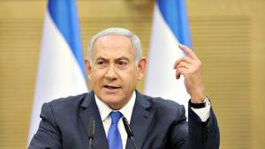 Israelin pääministeri Benjamin Netanjahu lehdistötilaisuudessa 27. toukokuuta.