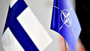 Suomen ja Naton liput Hybrid Challenge 2017 -seminaarissa Helsingissä 6. syyskuuta 2017.