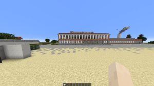 Kuvassa Sarkolan koulun 3D-skannattu mallinnus Minecraft-pelissä.
