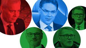 Hallitustunnustelija Antti Rinne ja pääministerit Juha Sipilä, Jyrki Katainen, ja Matti Vanhanen.