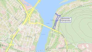 Kuvassa näkyy alue, jolla Jäämerentietä korjataan kesällä 2019.