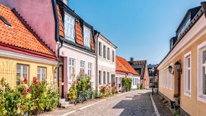 Taloja kadun varrella Ystadissa.