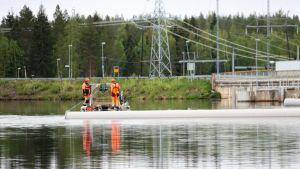 Haapakosken voimalan yläpuolelle iijoella asennetaan kala-aitaa ohjaamaan kalanpikasia pois voimaln turbiineista 5.6.2019.