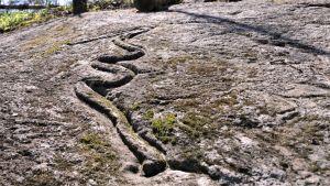 Kallioon kaiverrettu käärmekuvio