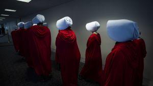 Sarjan asuihin pukeutuneita protestoijia Yhdysvaltojen hallinnon virastotalossa.