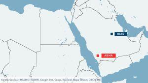 Kartta. Jemenin joukot iskivät Abhan lentokentälle Saudi-Arabiassa. Abha sijaitsee 850 kilometriä maan pääkaupungista Riadista lounaaseen.