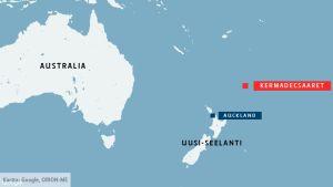 Kartta. Maanjäristys iski noin tuhat kilometriä Uuden-Seelannin Pohjoissaaresta koilliseen.