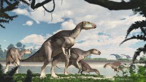 Piirroskuva viiden dinosauruksen laumasta veden ääressä.