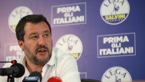 Italian sisäministeri Matteo Salvini tiedotustilaisuudessa 14. kesäkuuta.