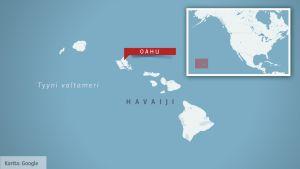 Kartta, jossa näkyy Oahun pääsaaren sijainti Havaijilla.