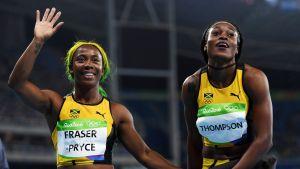 Shelly-Ann Fraser-Pryce (vas.) otti pronssia ja Elaine Thompson kultaa Rion olympialaisissa vuonna 2016.